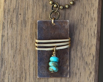 Antique Brass Rectangle Pendant / Gold Wire Wrapped / Turquoise Beads / Long Layered Necklace / Boho /Minimalist Jewelry / FREE SHIPPING