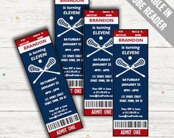 Lacrosse Party Invitations. Editable PDF. Printable. Instant Download.