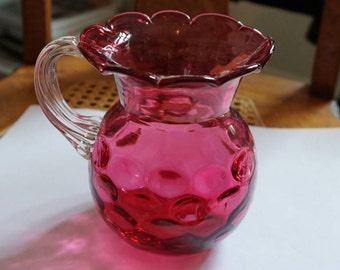 Fenton Cranberry Thumbprint Pitcher