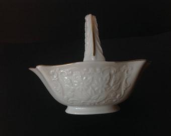 Lenox Gold Rimmed Candy Dish Basket Shape Sans Souci