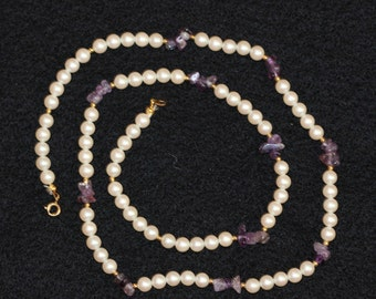 6mm Pearl with Amethyst chips necklace