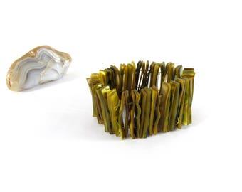 Vintage Bracelet - Stone Bracelet - Elastic Ceramic Bracelet - Olive Bracelet - Boho Bracelet