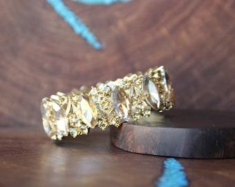 gold rhinestone bracelet, gold stretch bracelet, gold pageant bracelet, prom bracelet, crystal bracelet