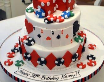 Casino (Poker) Themed cake decorating Kit (100% Edible)