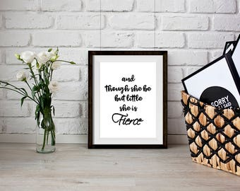 And though she be but little she is Fierce Shakespeare Quote Word Art Typography Print Midsummer Night's Dream