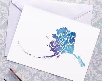 Alaska Map Christmas Card, Alaska Watercolor Greeting Card, Merry Christmas from Alaska Lettering, Gift, Postcard, Map Art Card or Art Print