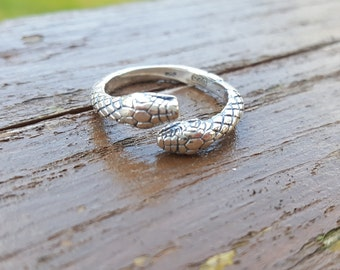 Double Headed Snake Ring 925 Sterling Silver - Medusa Reptile Animal Wild - by Serebra Jewelry