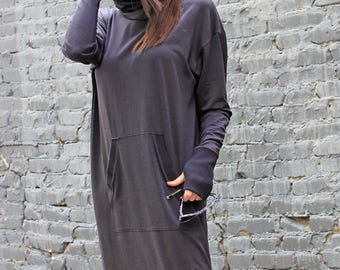 Black Dress/ Casual Dress/ Midi Dress/ Long Sleeve Dress/ Loose Dress/ Tunic Dress/ Soft Dress/ Day Dress/ Womens Top/ Urban Clothing/R00001