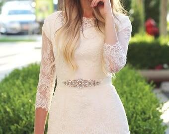 Rose gold sash - rose gold belt - rose gold rhinestone sash - rose gold wedding sash - rose gold bridal sash - rose gold rhinestone belt