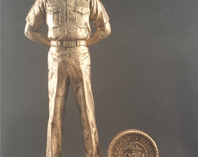 Featured listing image: U.S. Marine Resin Statue - Military Statue - Retirement Gift - Promotion Gift - Available in Gold and Pewter Colors - FREE ENGRAVING