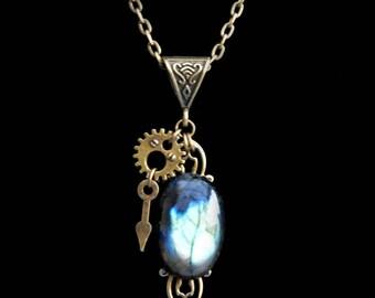 "Necklace Steampunk / Victorian ""Tempus Labradora"" Labradorite"