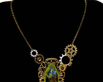 "Steampunk ""Géologhia"" asymmetrical Necklace: Labradorite"
