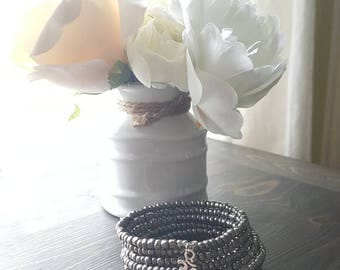 Memory wire bracelet, iridescent silver, gunmetal