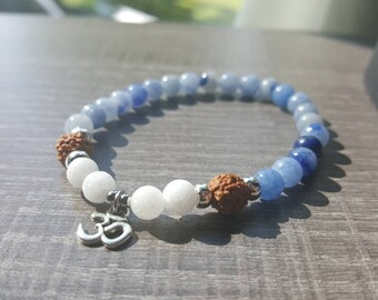 Thin blue aventurine, white jade and rudraksha bracelet