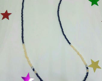 Necklace seed beads and Crystal chain