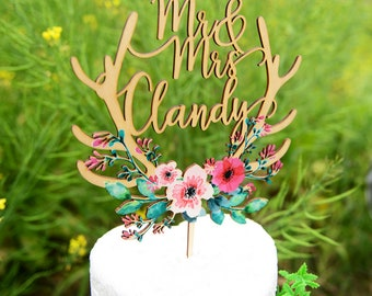 Personalized Wedding Cake Topper, Cake Topper for Wedding Printed with Colorful Floral Wreath,Custom Calligraphy Name Cake Topper VU011