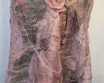 Rose Gold/Pink Felted Wrap, Felt Wedding Wrap, Bridal Accessories, Silk Shawl, Nuno Wrap, Gifts for Her, Wearable Art, GracefulEweFiberArts