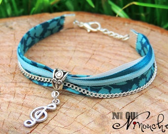 """Blue charm bracelet for floral liberty musician treble clef silver and chain """"Forget-me-not"""""""
