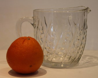 Fire King  Bead and Bar Crystal Pitcher - Anchor Hocking Milk Pitcher - Clear Mini Pitcher - 20 oz