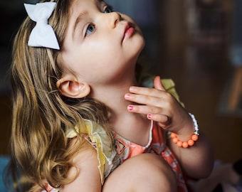 White Hand Folded Bow - White Bow - Hand Folded Hair Bow - Small Bow Headband - Small Bow Clip - Small Bow - Criss Cross Bow - Felt Bow