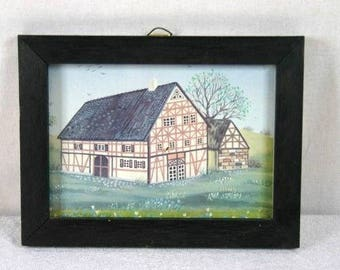 Old Dutch Farm In Wooden Frame Decorative Frame Cottage In Wooden Frame Home Decor Frame Nr 2