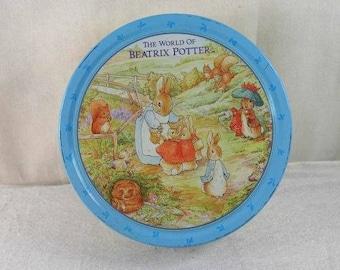 Vintage Blue Peter Rabbit Cookie Jar Vintage Beatrix Potter Tin Canister Peter Rabbit Tin Box