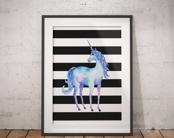 Unicorn Art | Unicorn Printable, Unicorn PDF, Unicorn Wall Art, Unicorn Decor, Animal Print, Immediate Download, Printable Poster