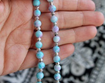 Blue Marble Beaded Anklet
