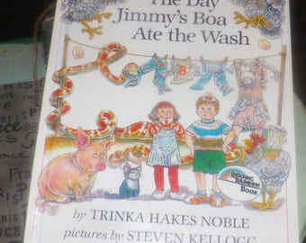 Vintage (1980) The Day Jimmy's Boa Ate the Wash hardcover children's book by Trinka Hakes Noble. Penguin Books Dial Books for Young Readers.