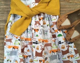 Girls' Organic Cotton Sleeveless Empire Waist Dress with Woodland Animals