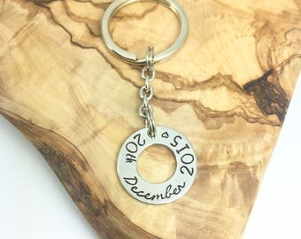 Significant Date Keyring | Key Ring | Key Chain | Personalised | Wedding Date | Anniversary | Birthday | Hand Stamped | UK