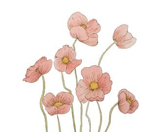 Poppies Print, Pink Flower, Watercolor Print, Floral Art, Botanical Poster, Poppy Wall Art, Minimalist Decor