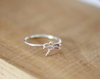 Dragonfly Stacking Ring, Sterling Silver Handmade Ring, Dragonfly Jewellery, Dragonfly Ring, Insect Jewellery,