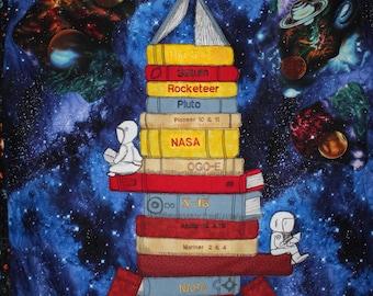 Spaceship quilt, Rocket Wallhanging, NASA wall hanging, Outerspace quilt,Boys wallhanging,Boy quilt,Library book quilt, Library books quilt