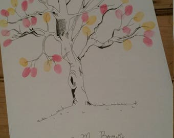 Fingerprint tree wedding guest book, thumbprint tree