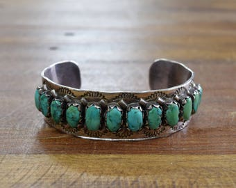 Vintage Zuni Sterling Silver And Turquoise Cuff Bracelet