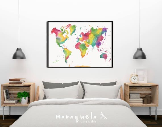 ORIGINAL RAINBOW WORLD map. Colorful watercolor painting handmade. Acuarela original Mapa del mundo