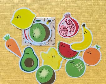 Veggies & Fruities Sticker Pack (10 in one pack)