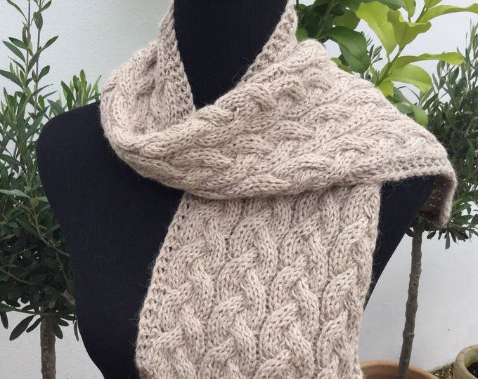 Pure alpaca cable scarf, cable scarf, alpaca scarf, taupe scarf by Willow Luxury