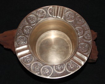 Vintage Korean Brass Ashtray with Astrological Signs and Symbols in Korean Characters