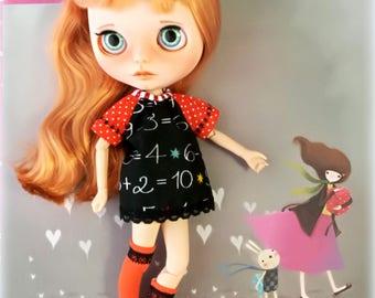 Vestido blythe, ropa blythe, vestido pizarra blythe, vestido pullip, ropa pullip, vestido negro blythe, vestido de algodón blythe