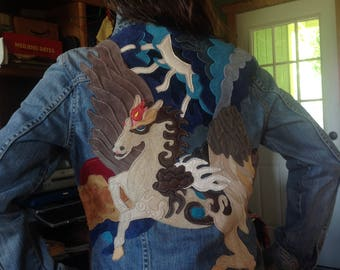 Pegasus leather Jacket ~ Denim ń Leather Pegasus Appliqué, Musician performance jacket.Country Western Jacket