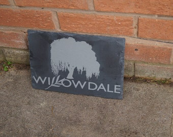 Slate house sign, willow tree sign, tree house sign, personalised house sign,dads shed sign, house number plaque, house name, house plaque