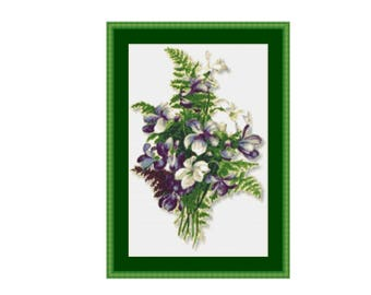 Flowers & Ferns Floral Counted Cross Stitch Pattern / Chart, Instant Digital Download (AP125)