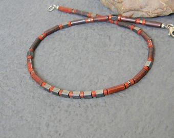 Red, Poppy Jasper, Hematite Necklace, Native, Tribal Necklace, Mens Beaded Necklace, Womens Jasper Necklace, Mens Industrial Necklace