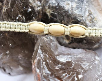 Three Cylindrical Bead Macrame Bracelet