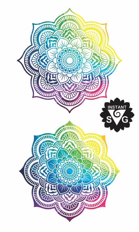 Mandala Rainbow Design Mandala SVG Rainbow Mandala clipart