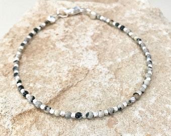 Dalmatian jasper bracelet, brown bracelet, sterling silver bracelet, Hill Tribe silver bracelet, sundance style bracelet, gift for her