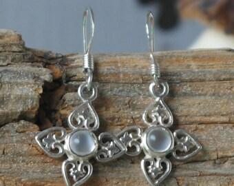 Vintage Sterling Silver Moonstone Flower Hook Earrings Beautiful
