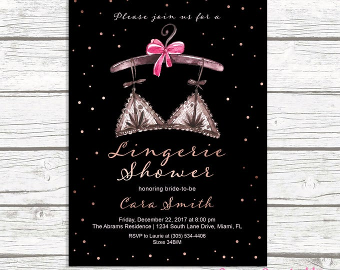 Lingerie Shower Invitation, Lingerie Bridal Shower Invitation, Rose Gold Bridal Shower Invitation, Ooh La La Lingerie Shower Printable